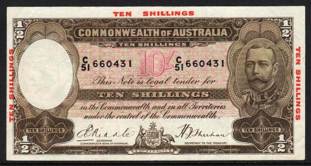 R10 Riddle-Sheehan 10/- With Imprint C60 488224